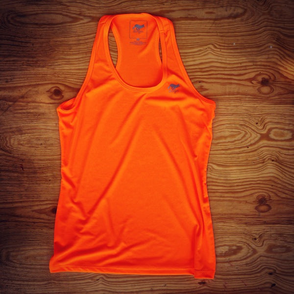 Runyon Women's Neon Orange Performance Fitness Tank made in usa fitness wear running hiking yoga outdoors runyon canyon apparel