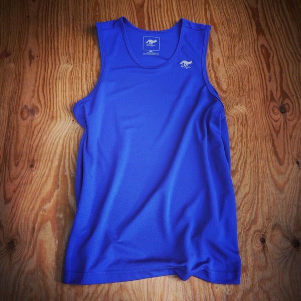 Runyon Men's Royal Blue Performance Power Tank made in usa fitness wear running hiking yoga outdoors runyon canyon apparel