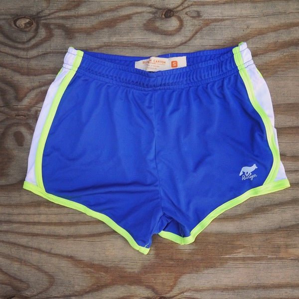 Runyon Women's Rad Royal Neon Performance Shorts made in usa fitness wear running hiking yoga outdoors runyon canyon apparel