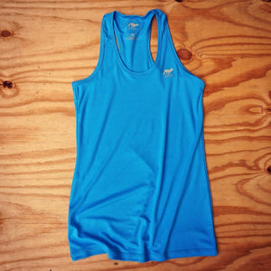 Runyon Women's Amazing Blue Performance Fitness Tank made in usa fitness wear running hiking yoga outdoors runyon canyon apparel