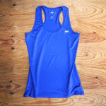 Runyon Women's Cobalt Blue Elastic Razorback Fitness Tank made in usa fitness wear running hiking yoga outdoors runyon canyon apparel