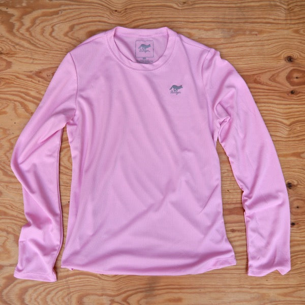 Runyon Women's Cool Pink Long Trail Shirt made in usa fitness wear running hiking yoga outdoors runyon canyon apparel