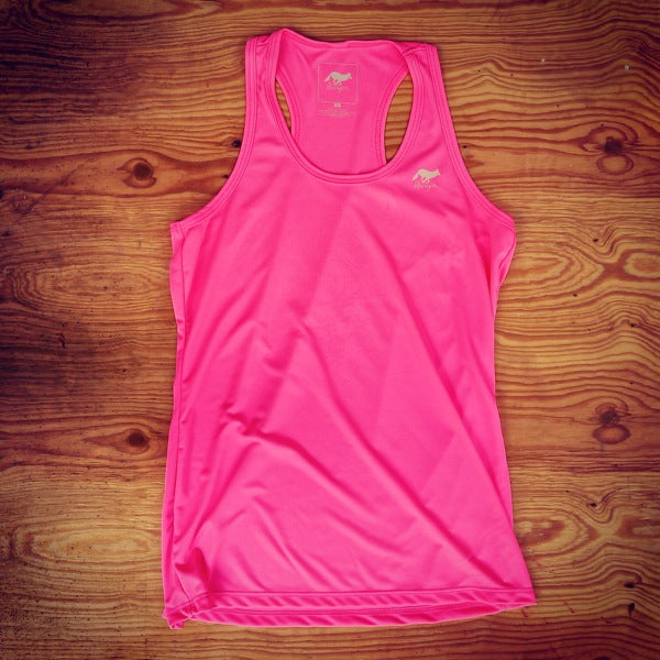 Runyon Women's Totally Hot Pink Performance Fitness Tank made in usa fitness wear running hiking yoga outdoors runyon canyon apparel