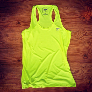 Runyon Women's Neon Yellow Performance Fitness Tank made in usa fitness wear running hiking yoga outdoors runyon canyon apparel
