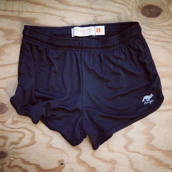 Runyon Women's Black Basic Training Performance Running Shorts made in usa fitness wear running hiking yoga outdoors runyon canyon apparel