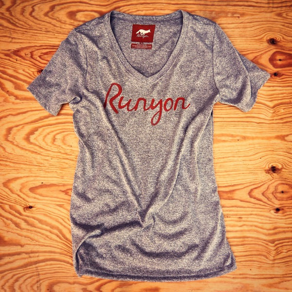 Runyon Women's Signature Script Performance Shirt made in usa fitness wear running hiking yoga outdoors runyon canyon apparel