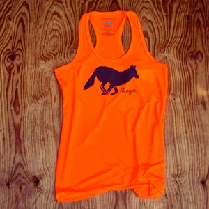 Runyon Women's Signature Neon Orange Charcoal Performance Fitness Tank made in usa fitness wear running hiking yoga outdoors runyon canyon apparel
