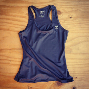 Runyon Women's Slate Elastic Razorback Fitness Tank made in usa fitness wear running hiking yoga outdoors runyon canyon apparel