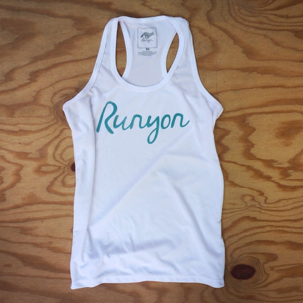 Runyon Women's Teal Script Performance Fitness Tank made in usa fitness wear running hiking yoga outdoors runyon canyon apparel