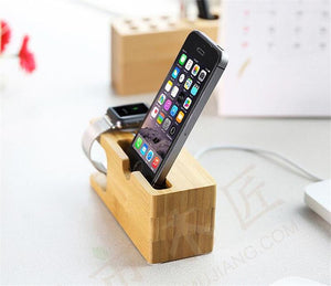 Bamboo Charging Dock Station For iPhones and iWatch