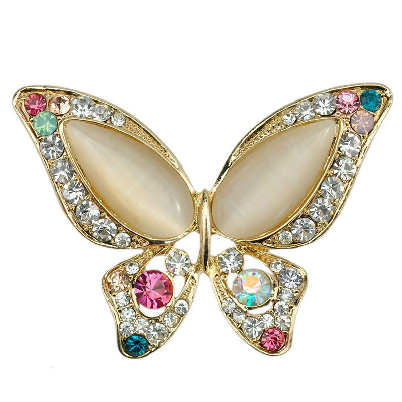 3 Color OPal Rhinestone Butterfly Brooch