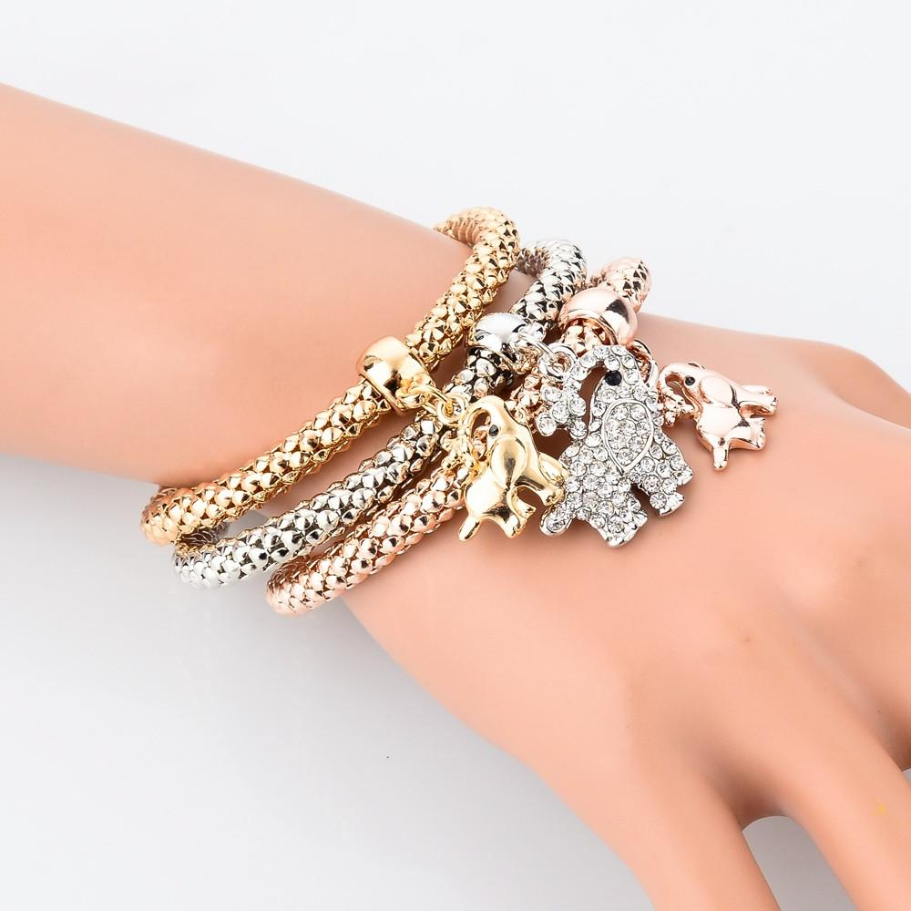 Elepahant - Gold Plated Bracelet w/ Austrian Crystals - BUY 1 GET 3