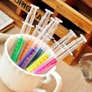 6 Syringe Fluorescent Highlighter Pens