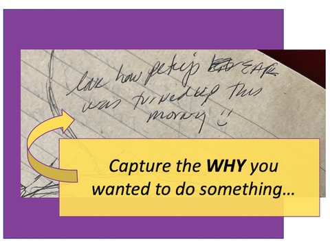 Capture the WHY you wanted to do something as part of the process