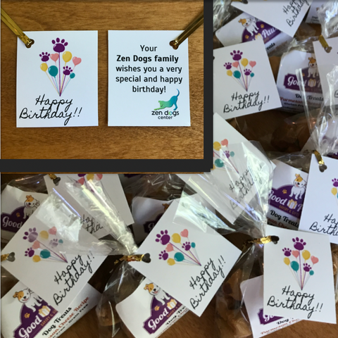 Good Paws dog treats provide a fun option for this dog care business that puts together a happy birthday bag for their dog customers