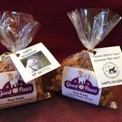 Personalized holiday gift dog treat bag for individual or business
