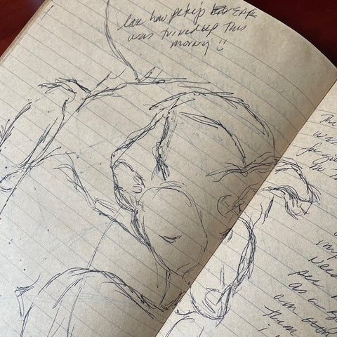 Sketch of our dog Petey in a notebook - sketching to help connection between a person and their dog