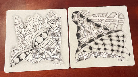 Samples of Zentangle artwork as inspiration for drawing your pet