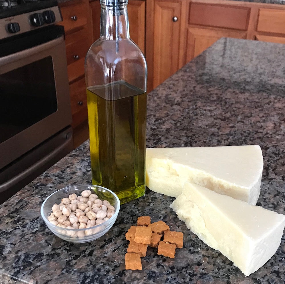 Image of Good Paws Treat ingredients - chick pea flour, olive oil and parmesan cheese