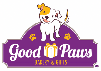 Good Paws Bakery logo - happy dog with gift box