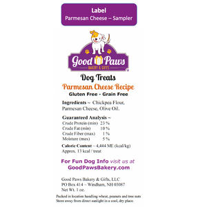 Back label sampler size parmesan cheese grain free dog treats