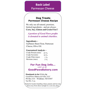 Back label for enjoy your new home Parmesan Cheese Grain Free dog treat bag