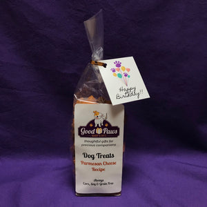 Grain Free dog treats - Cheese Recipe - Happy Birthday Balloons tag - Good Paws Bakery