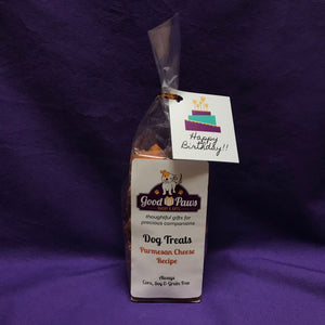 Grain Free dog treats - Cheese Recipe - Happy Birthday Cake tag - Good Paws Bakery