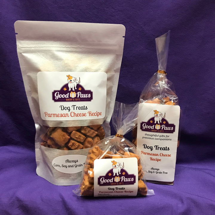 Grain free parmesan cheese dog treats - all sizes - Good Paws Bakery