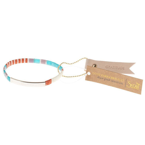 Scout Curated Wears Good Karma Miyuki Bracelet | Gratitude - Turquoise/Orange/Silver (4384893042731)