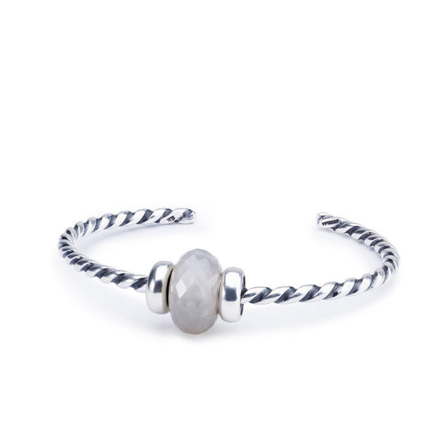 Great Lakes Boutique Grey Moonstone Twisted Silver Bangle