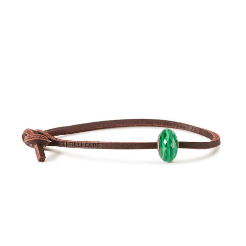 Trollbeads Malachite Single Leather Bracelet (4327555301419)