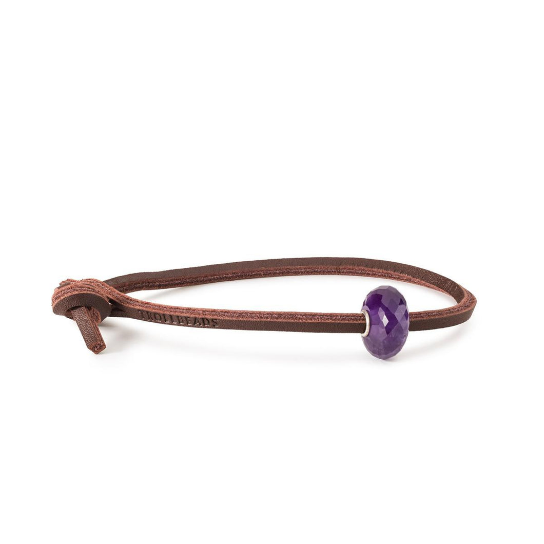 Trollbeads Amethyst Single Leather Bracelet (4327556808747)
