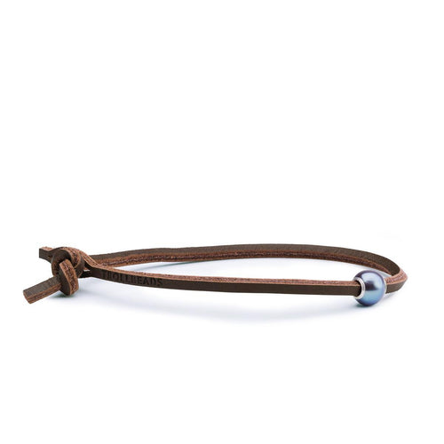 Great Lakes Boutique Peacock Pearl Single Leather Bracelet