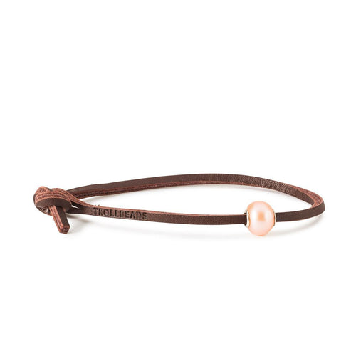 Trollbeads Pink Pearl Single Leather Bracelet (4327557660715)