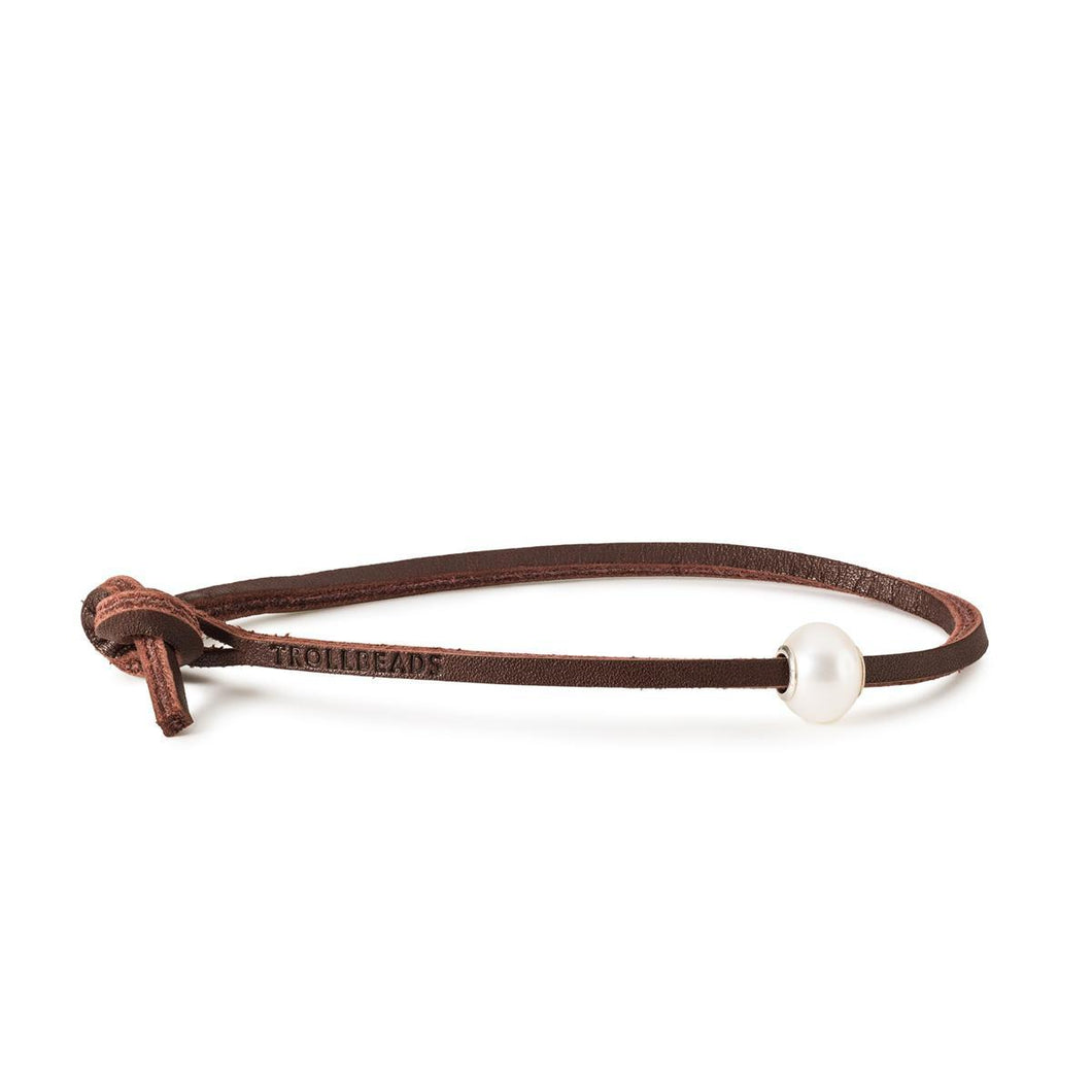 Great Lakes Boutique White Pearl Single Leather Bracelet (4327558086699)