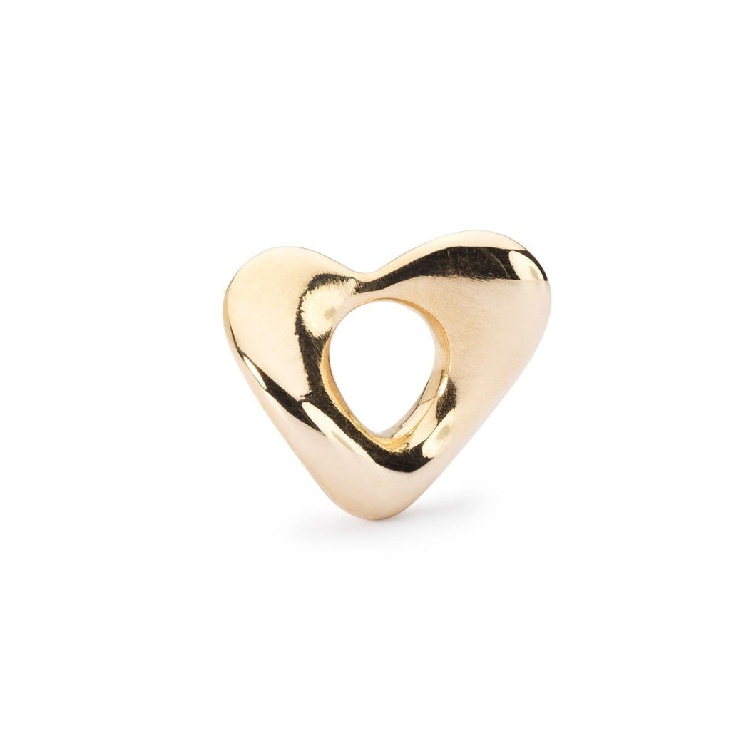 Trollbeads Soft Heart Bead Small Gold (1648776871979)