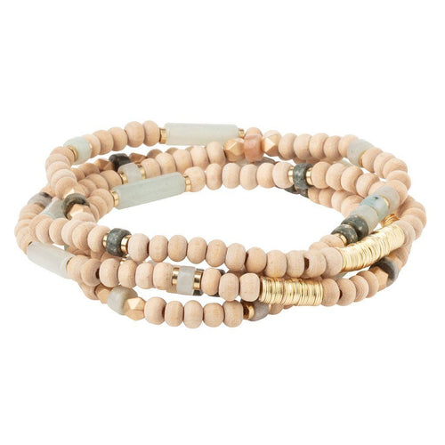 Scout Curated Wears Wood Stone & Metal Wrap - Amazonite / Gold (4384885243947)