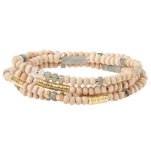 Scout Curated Wears Wood Stone & Metal Wrap - Labradorite / Gold (4384886784043)