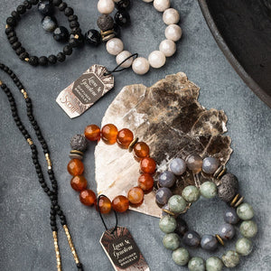 Scout Curated Wears Lava & Gemstone Diffuser Bracelet - Gray Agate (4284774449195)