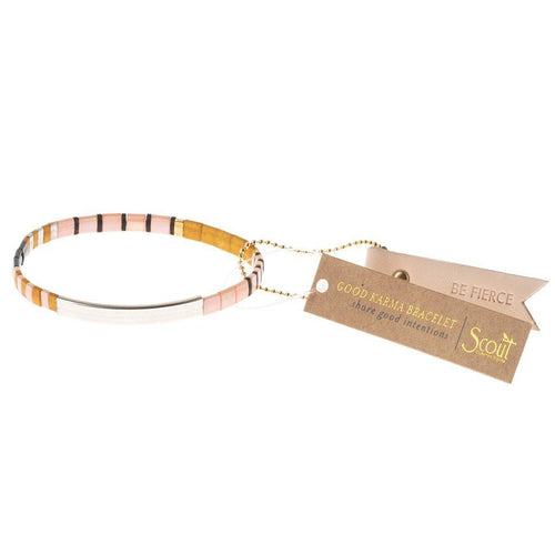 Scout Curated Wears Good Karma Miyuki Bracelet | Be Fierce - Pink / Mustard / Silver (4384896745515)