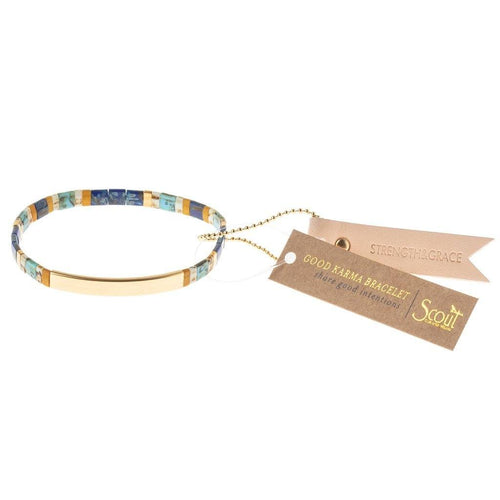 Scout Curated Wears Good Karma Miyuki Bracelet | Strength & Grace - Indigo / Gold (4384891764779)