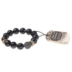 Scout Curated Wears Lava & Gemstone Diffuser Bracelet - Black Agate (4284775399467)