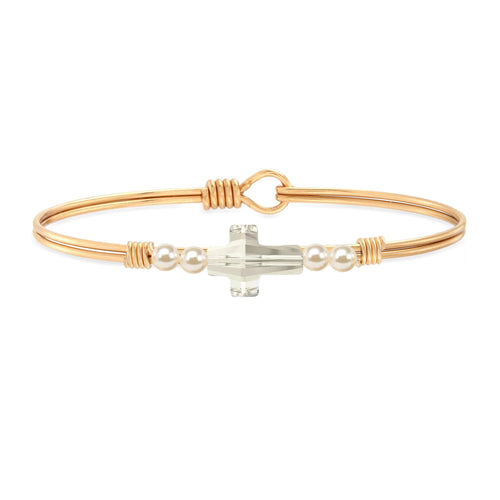 Luca + Danni Crystal Pearl Cross Bangle in Classic White