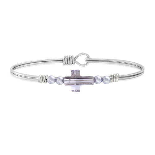 Luca + Danni Crystal Pearl Cross Bangle in Mauve