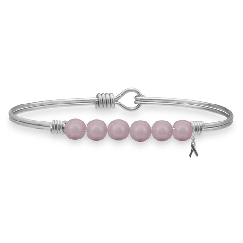 Luca + Danni Crystal Pearl Bangle in Pink Ribbon