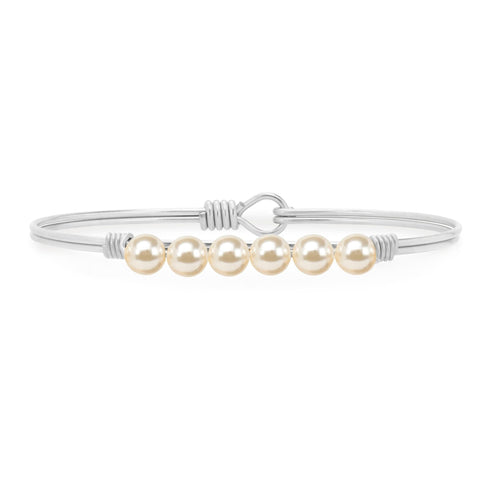 Luca + Danni Crystal Pearl Bangle Bracelet In Classic White (4354588180523)