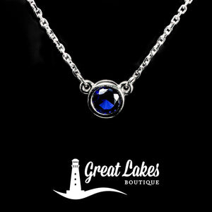 Great Lakes Boutique White Gold & Sapphire Necklace