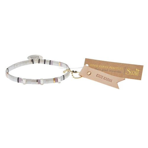 Scout Curated Wears Good Karma Miyuki Charm Bracelet - Good Karma - Cloud Sparkle & Silver