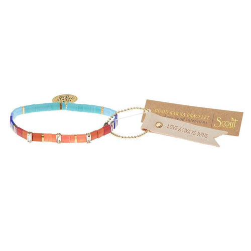 Scout Curated Wears Good Karma Miyuki Charm Bracelet - Love Always Wins - Multi Sparkle & Gold
